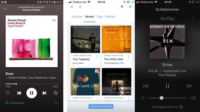 """B&W Formation Wedge: WLAN-Lautsprecher für Spotify und mehr im Test Der B&W Formation Wedge lässt sich mit der Spotify-App ansteuern, im Bild heißt er """"Schlafzimmer"""". Auch die Software Roon eignet sich als Zuspieler für die B&W Formation Serie. Besonders einfach klappt die Musikwiedergabe via Airplay, die B&W App (rechter Screenshot) zeigt das schön an, dient aber vor allem zur Einrichtung.©COMPUTER BILD"""