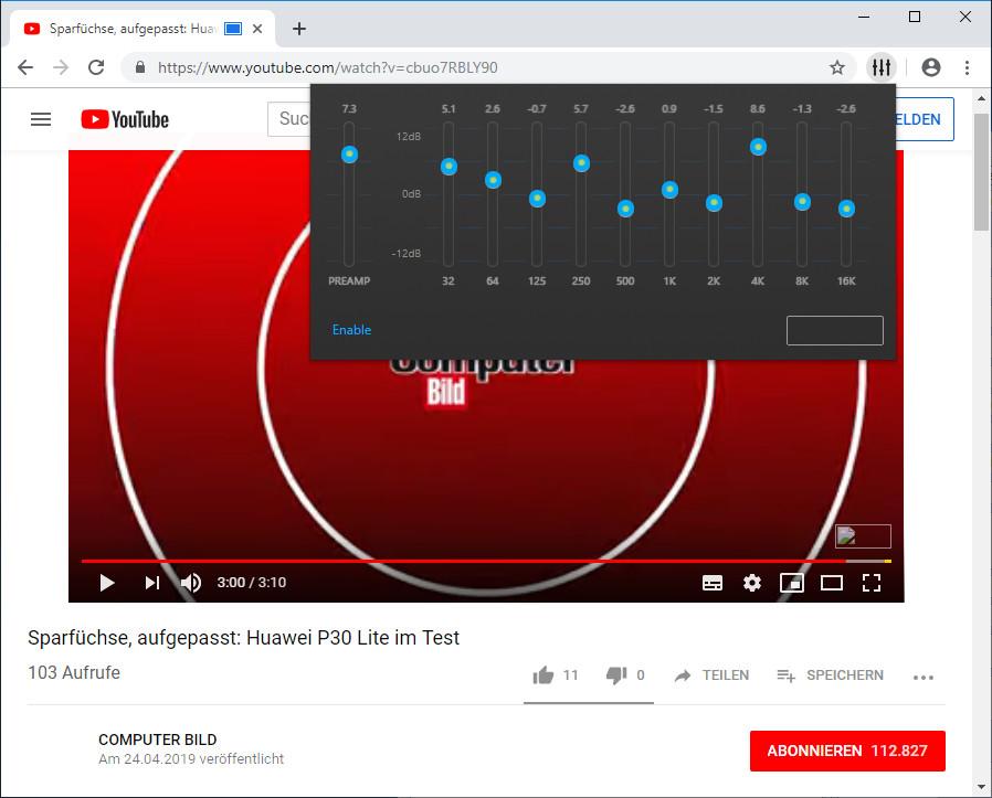 Screenshot 1 - Sound Enhancement für Chrome