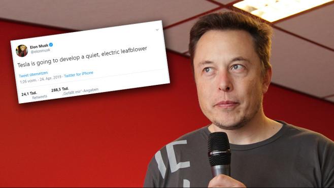 Elon Musk mit Laubbläser-Tweet©Tesla Club Belgium / Flickr (Fotomontage)