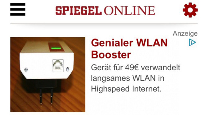 Super Boost WiFi Werbung © Spiegel Online, Super Boost WiFi