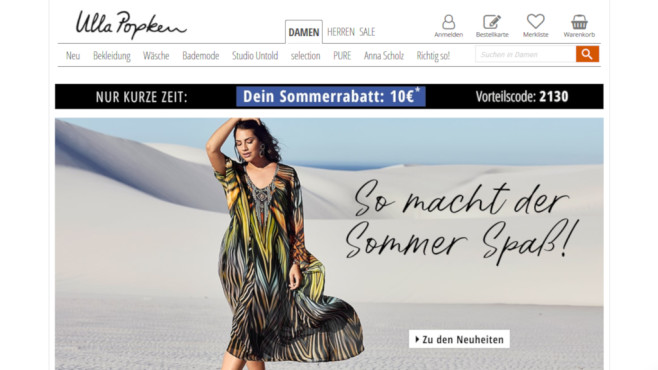 Onlineshop von Ulla Popken lädt zum Sparen ein©PR/Screenshot www.ullapopken.de