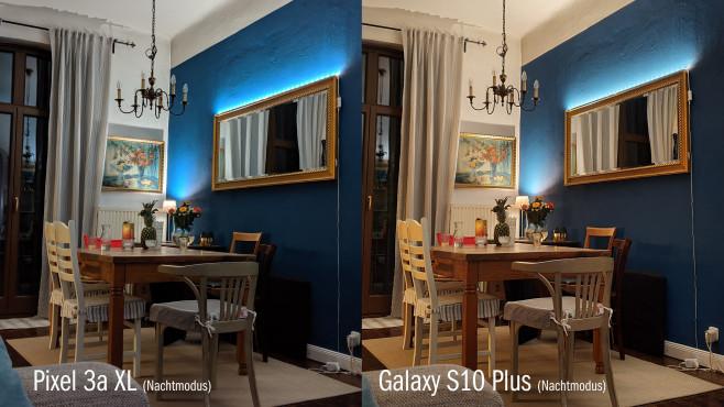 Google Pixel 3a XL im Praxis-Test: Nachtsicht-Kamera, OLED-Display, pures Android zum günstigen Preis Abendliche Kamera-Aufnahme mit aktiviertem Nacht-Modus im Vergleich: Sowohl das Pixel 3a XL (links) als auch das Galaxy S10 Plus (rechts) machen hier ordentliche Bilder, beim Pixel überstrahlt die grelle Lichtleiste über dem Spiegel allerdings die Bildumgebung weniger stark als bei Samsung.©COMPUTER BILD