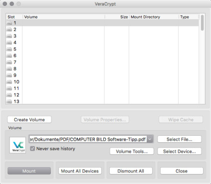 Screenshot 1 - VeraCrypt (Mac)