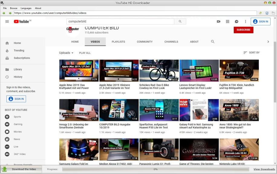 Screenshot 1 - YouTube HD Downloader