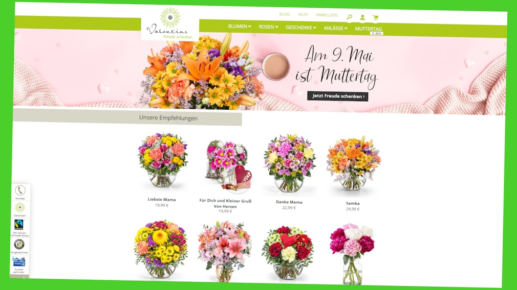 Exklusiver Online-Gutschein für Blumensträuße zum Muttertag