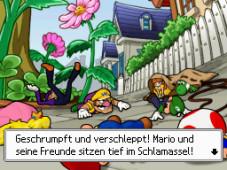 Mario Party DS Bowser fackelt nicht lange und schrumpft die Freunde.