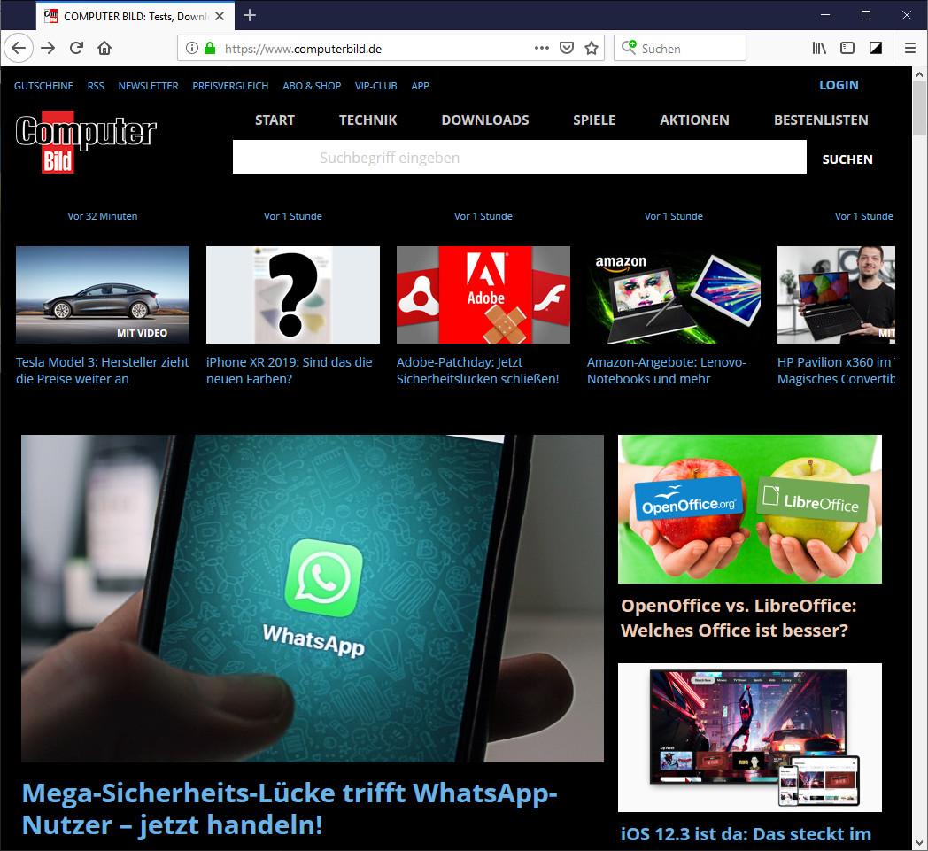 Screenshot 1 - Super Dark Mode für Firefox