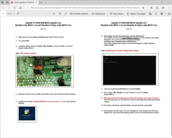 Screenshot 1 - BIOS-Update: Aldi-PC Medion Akoya P2120D