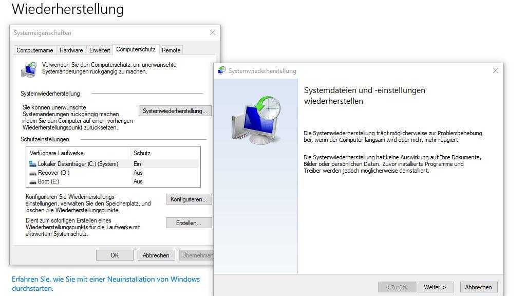 Windows 10: Probleme mit Wiederherstellungsfunktion