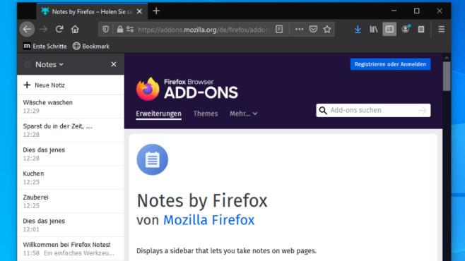 Das Add-on Notes von Mozilla ermöglicht es, formatierbare Notizen anzulegen.©COMPUTER BILD