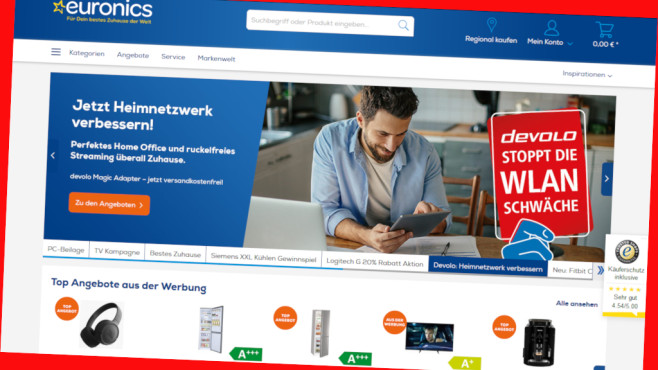 Cashback im Online-Shop von Euronics©PR/Screenshot www.euronics.de