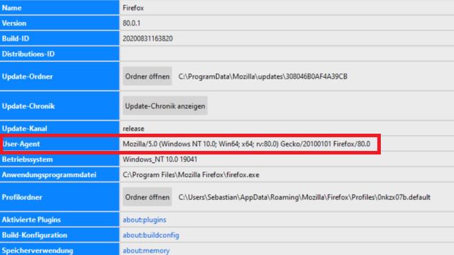 User Agent ändern und auslesen: Anonym surfen mit Firefox, Chrome & Co. Interne Browser-about:XXX-Seiten decken unter anderem den User Agent auf.©COMPUTER BILD