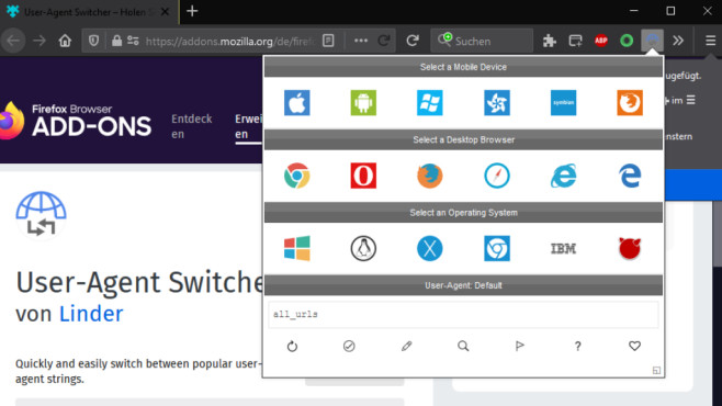 """User Agent ändern und auslesen: Anonym surfen mit Firefox, Chrome & Co. Das Firefox-Add-on """"User Agent Switcher"""" von Programmierer """"Linder"""" hilft Ihnen.©COMPUTER BILD"""