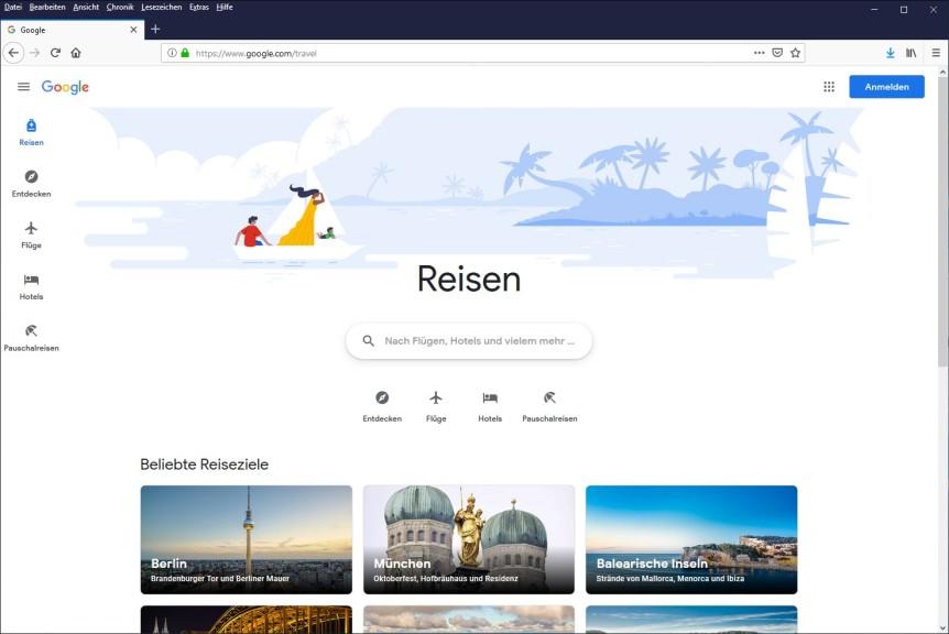Screenshot 1 - Google Reisen