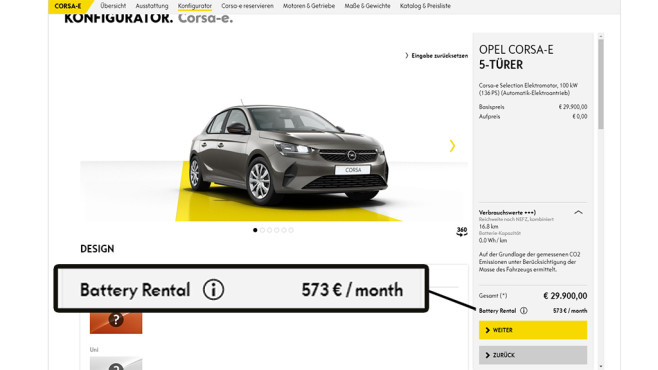 Opel Corsa-e Konfigurator©Opel