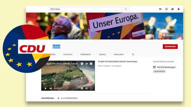 CDU-Videos © Youtube, CDU, Screenshot Youtube-Kanal CDU