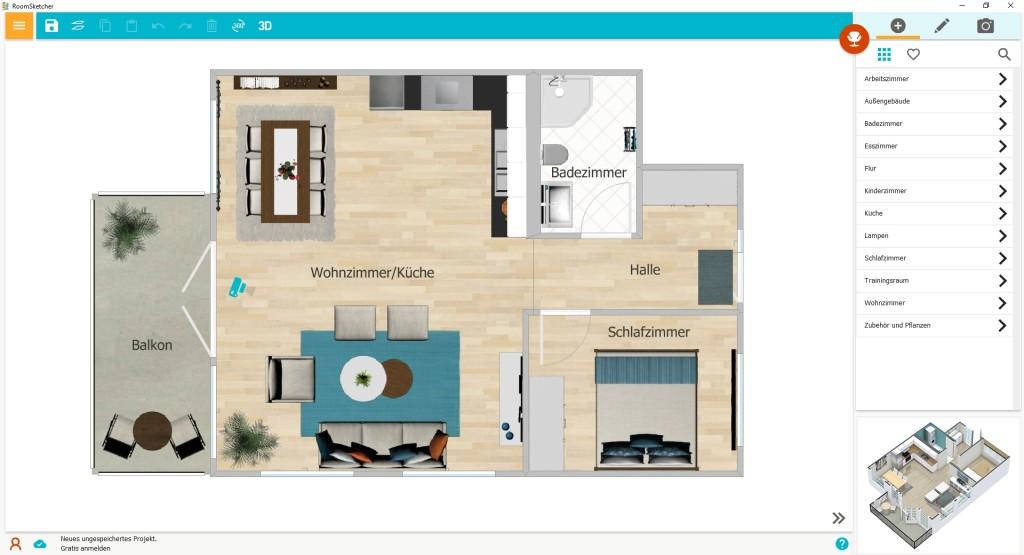 Screenshot 1 - RoomSketcher (Desktop-App)