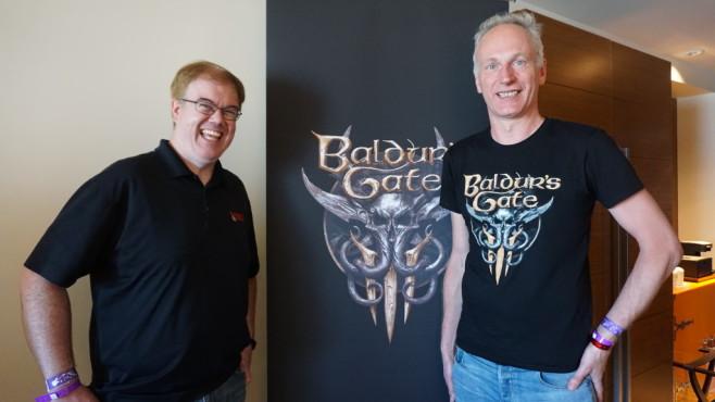 """Baldur's Gate 3: Entwicklung offiziell bestätigt Links Mike, rechts Swen – Entwickler von """"Baldur's Gate 3"""".©Nedzad Hurabasic"""
