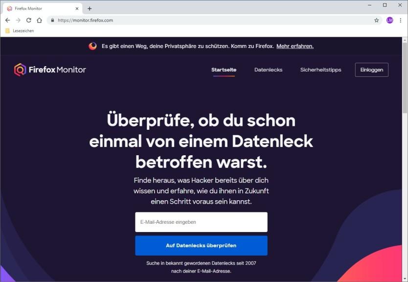 Screenshot 1 - Firefox Monitor
