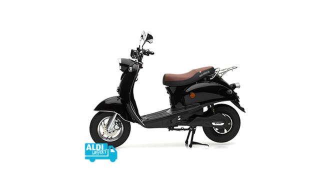 Aldi-Süd-Angebot: Elektro-Roller von Nova Motors Der Elektroroller eRetro Star ist ebenfalls bei Aldi Süd erhältlich und überzeugt in elegantem Schwarz.©Aldi