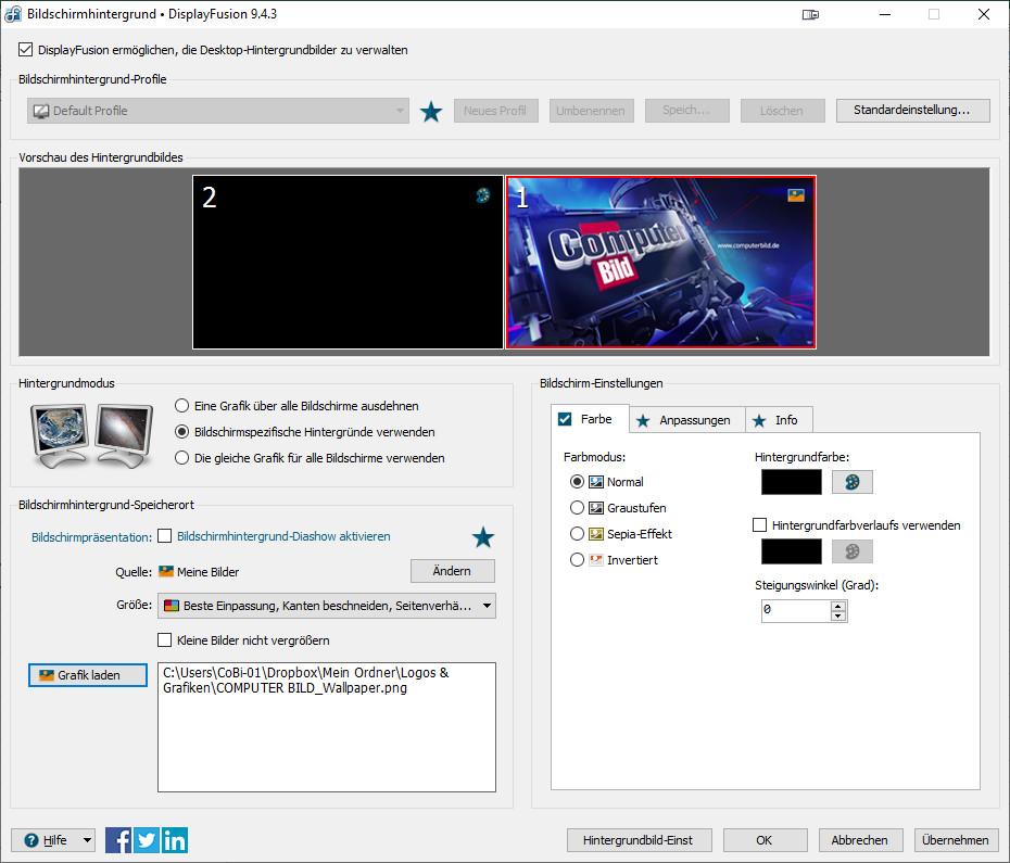 Screenshot 1 - DisplayFusion