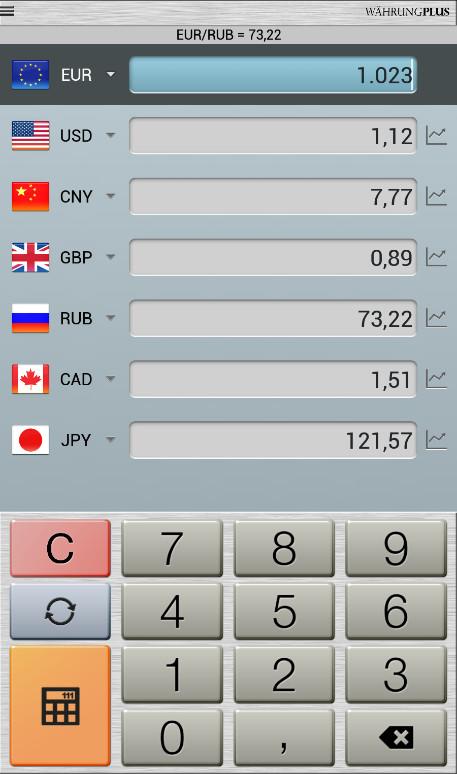 Screenshot 1 - Währungsrechner plus (Android-App)