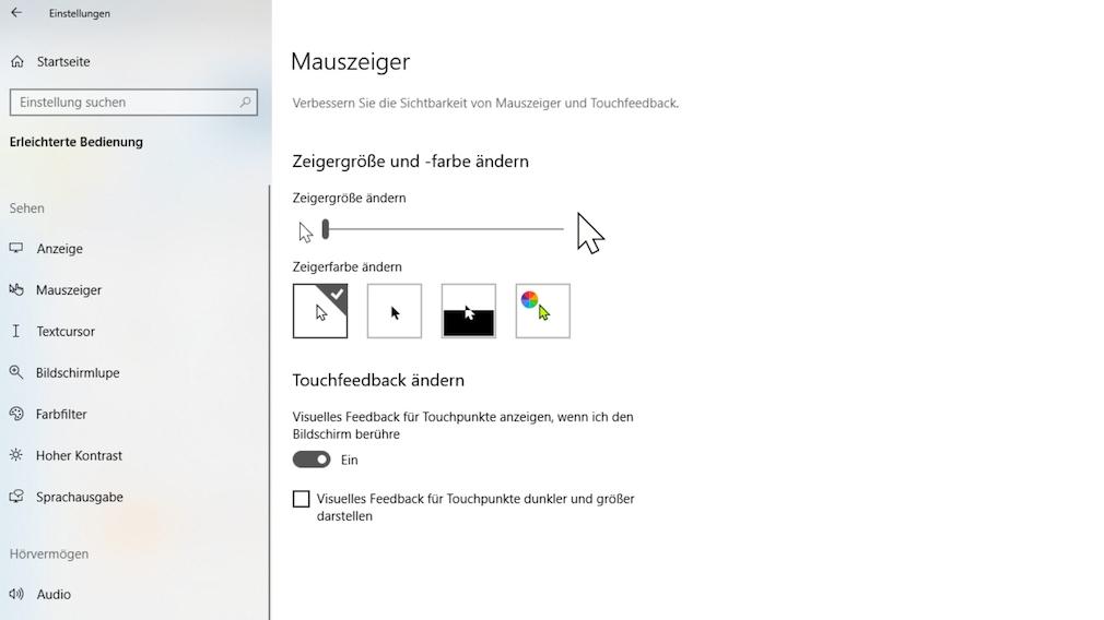 Windows 10 1903: Mauszeiger-Farbe ändern und Größe anpassen