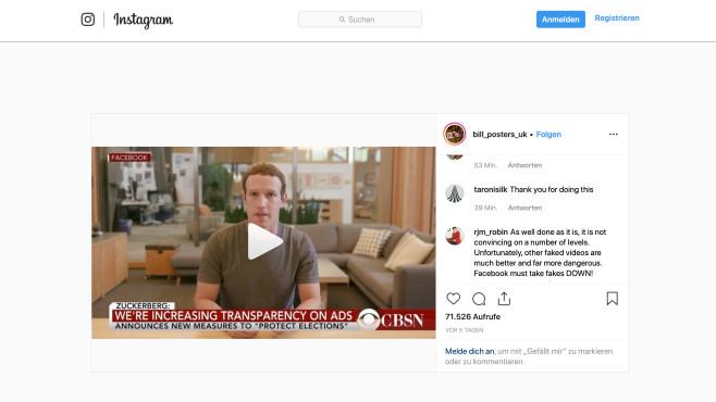 Deepfake-Video mit Mark Zuckerberg©Screesnhot Instagram