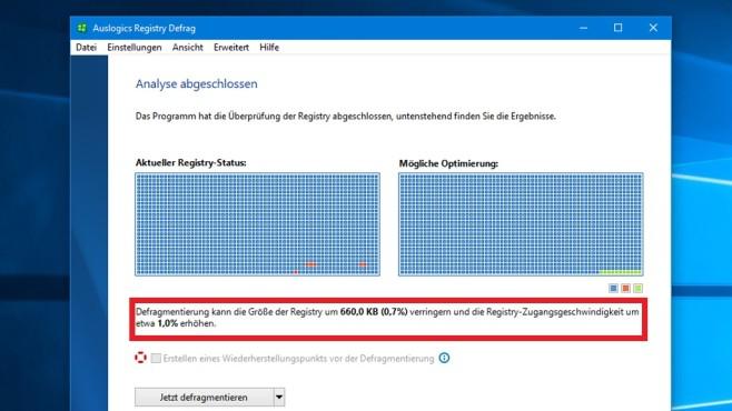 Registry defragmentieren bei SSD: Sinnvoll, schädlich? Bevor es an die Optimierung geht, will Auslogics sie schmackhaft machen: mit Infos dazu, welche Vorteile sich ergeben.©COMPUTER BILD
