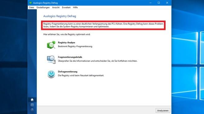Registry defragmentieren bei SSD: Sinnvoll, schädlich? Die Behauptung, Registry-Fragmentierung könne zu einer deutlichen Verlangsamung führen, soll wohl die Relevanz des Tuning-Tools rechtfertigen.©COMPUTER BILD