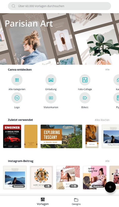 Screenshot 1 - Canva (App für iPhone & iPad)