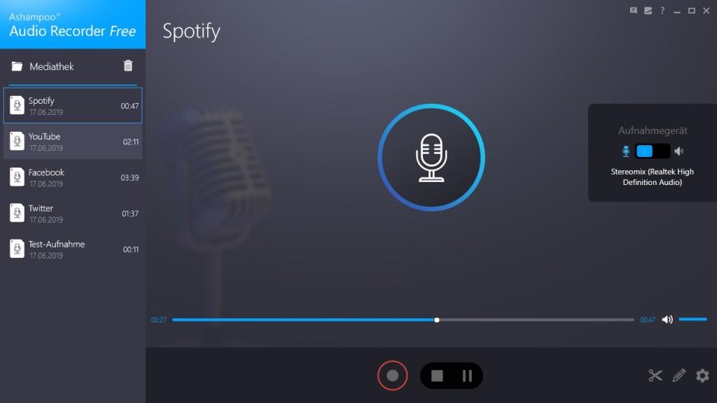 Screenshot 1 - Ashampoo Audio Recorder Free