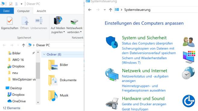 Windows 7/8/10: Systemsteuerung ist ein Ordner Explorer©COMPUTER BILD