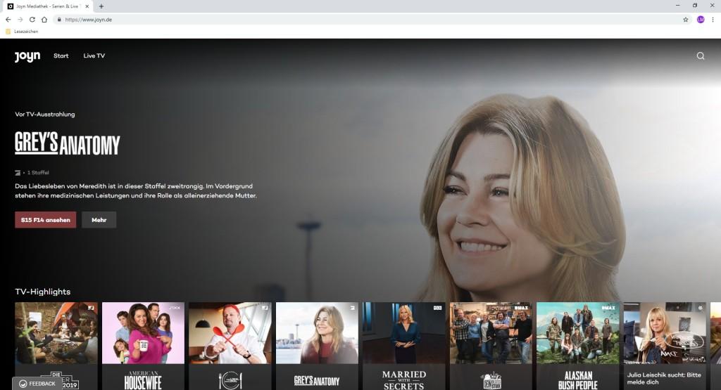 Screenshot 1 - Joyn: Mediathek & TV-Livestream