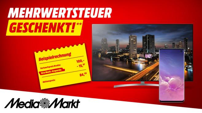 Media Markt: Mehrwertsteuer-Aktion 2019 Top-Angebote günstig abstauben: Mehrwersteuer geschenkt bei Media Markt.©Media Markt