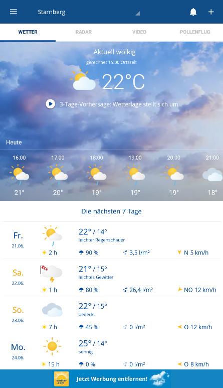 Screenshot 1 - Wetter.com (App für iPhone & iPad)