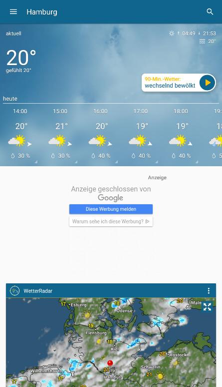 Screenshot 1 - WetterOnline (Android-App)