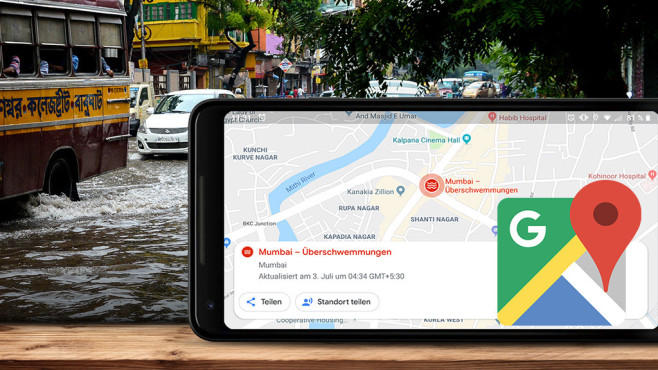 Katastrophenwarnung bei Google Maps©Google, iStock.com/Hailshadow