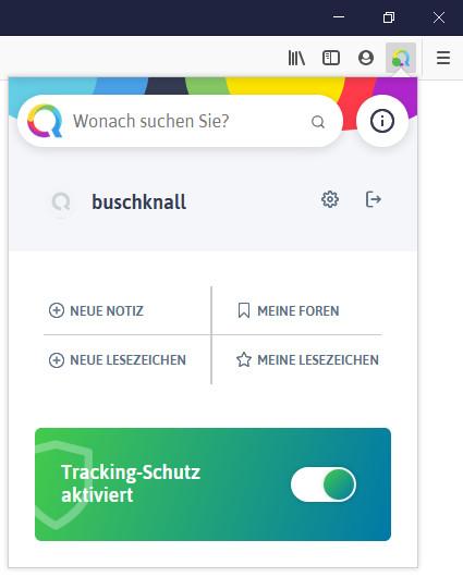 Screenshot 1 - Qwant für Firefox