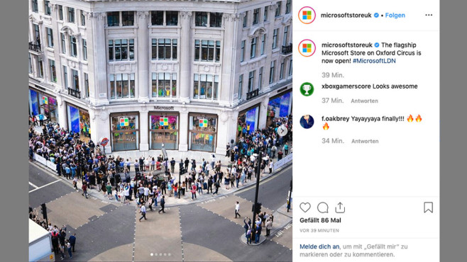 Microsoft Store in London: So sieht der Shopping-Tempel aus Microsoft kündigt das Event rund um die Store-Eröffnung groß auf Social Media an, unter anderem in einem .©Screenshot via Instagram @microsoftstoreuk