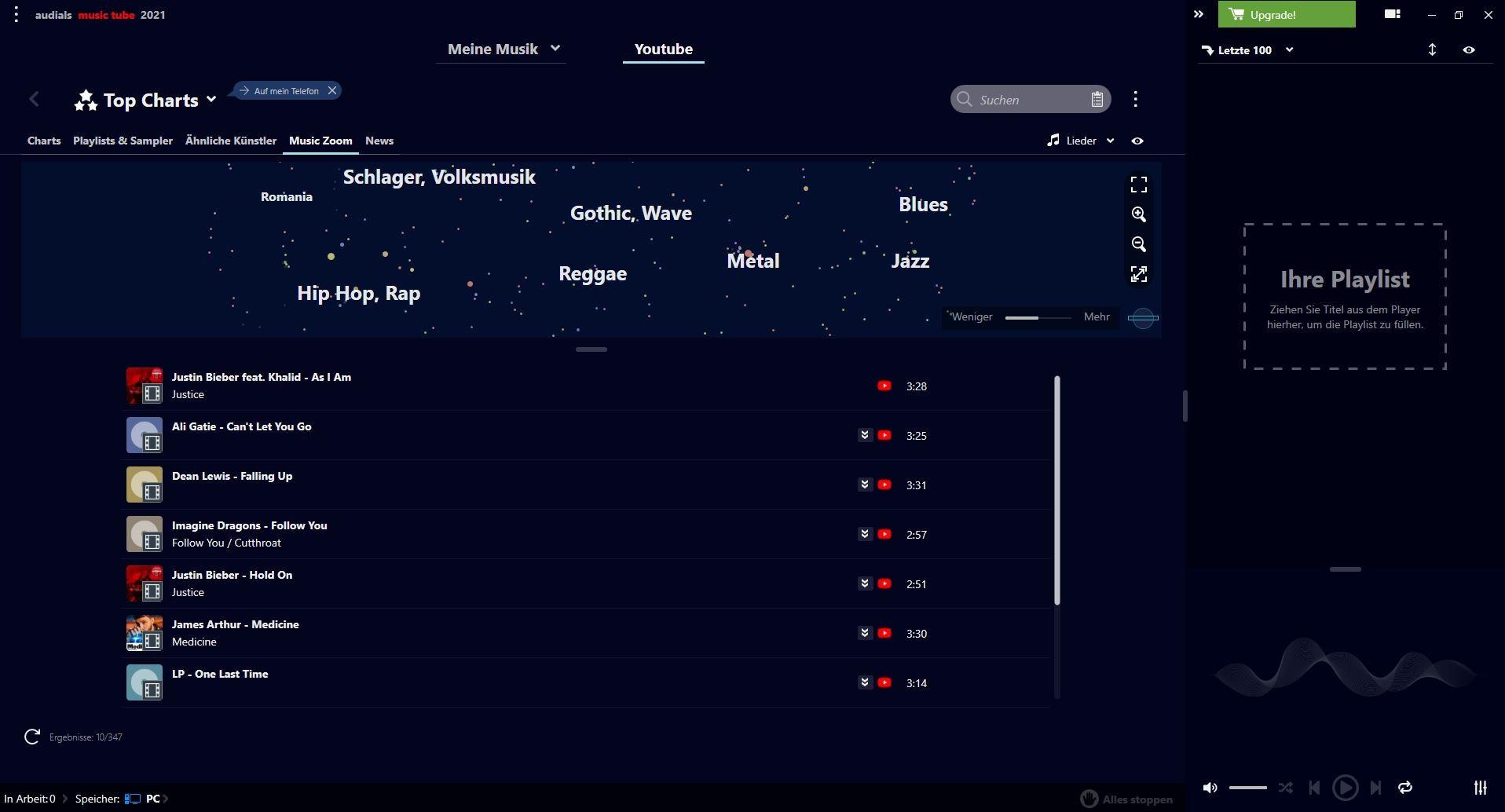 Screenshot 1 - Audials Music Tube 2021 – Kostenlose Vollversion