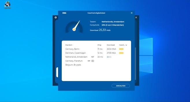 HMA VPN: Speed-Test©HMA/Microsoft