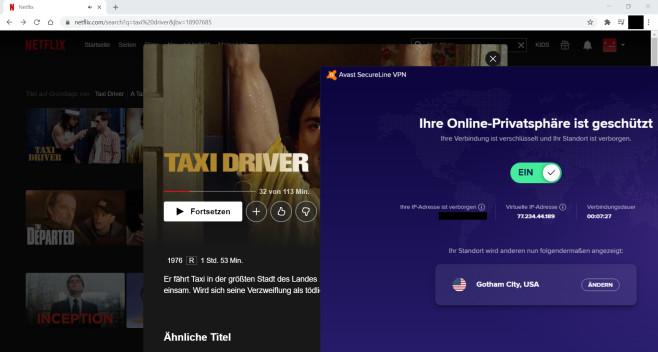 Avast SecureLine VPN: Netflix©Avast/Netflix/Google/Microsoft