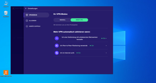 Avast SecureLine VPN: VPN-Settings©Avast/Microsoft