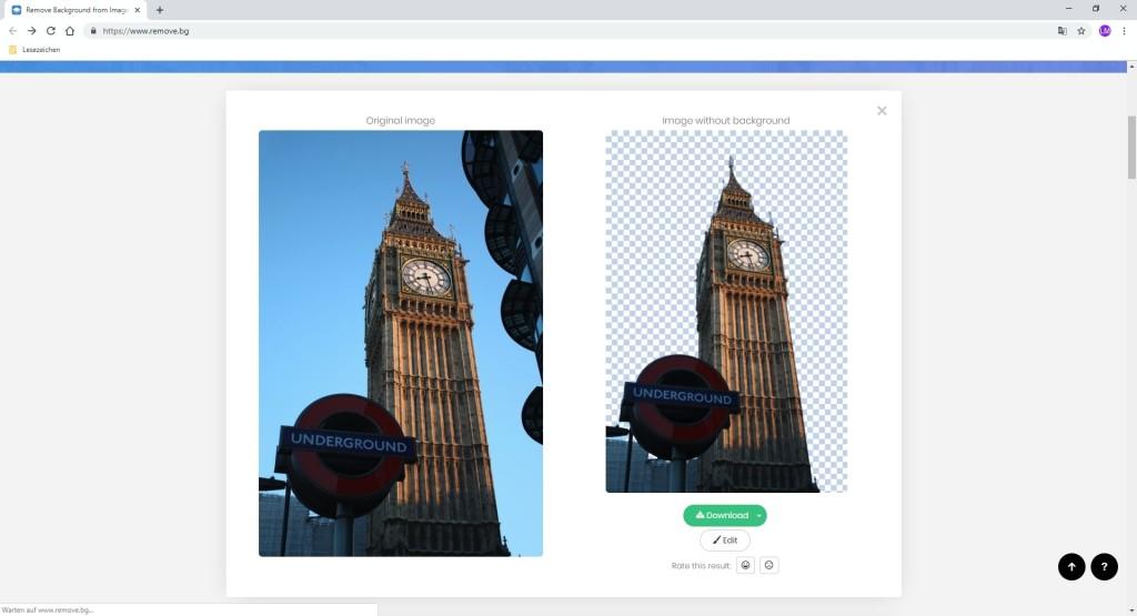 Screenshot 1 - Remove.bg: Bilder automatisch freistellen
