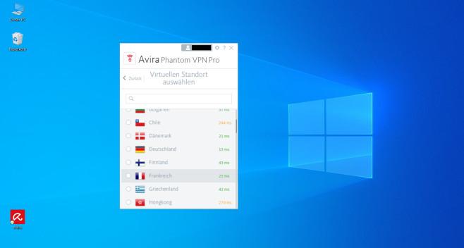 Avira Phantom VPN Pro: Serverwahl©Avira/Microsoft