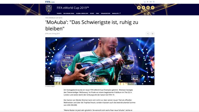 """FIFA eWorld Cup 2019: Werder-Bremen-Star Mohammed """"MoAuba"""" Harkous©Screenshot FIFA.com"""
