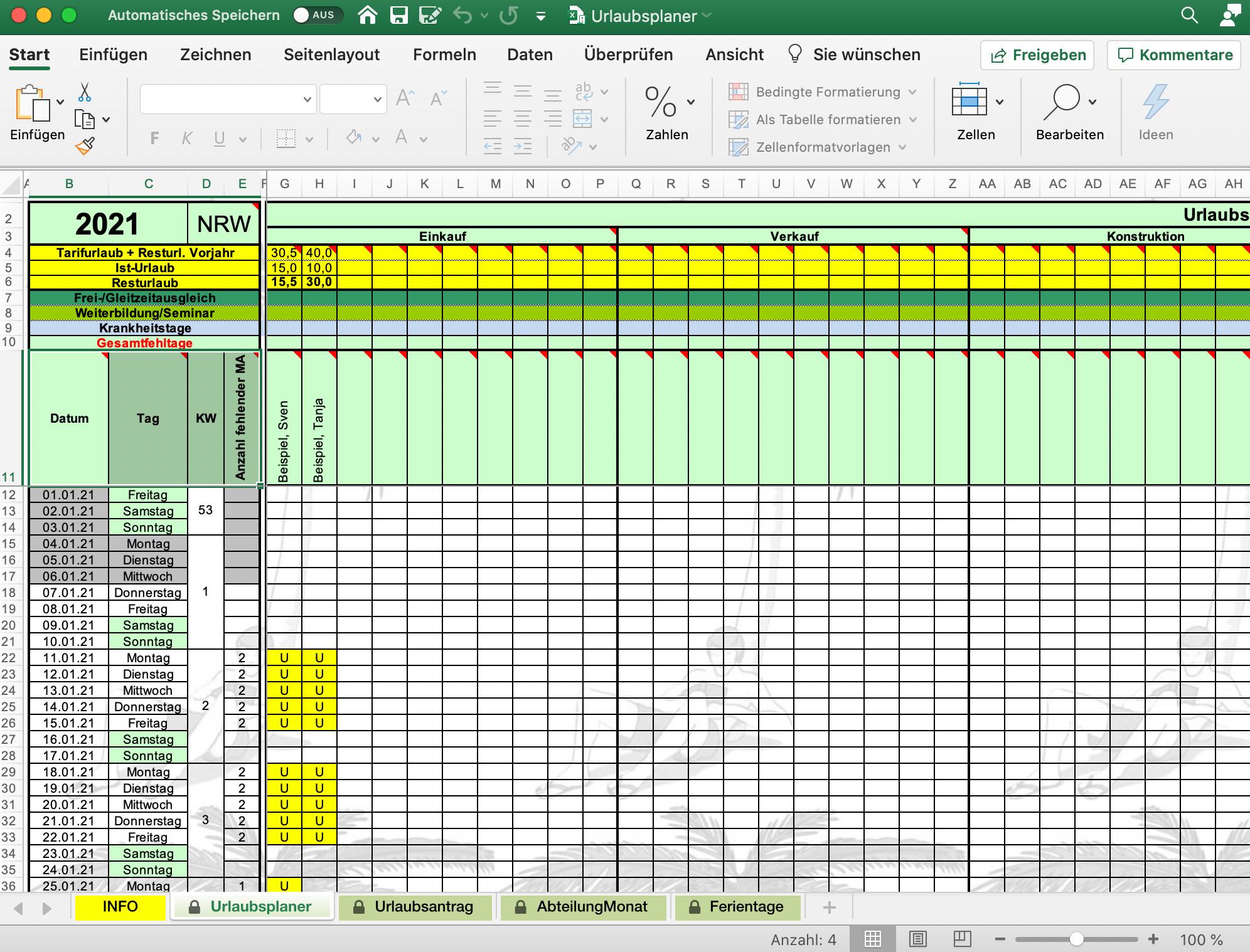 Screenshot 1 - Urlaubsplaner (Excel-Vorlage)