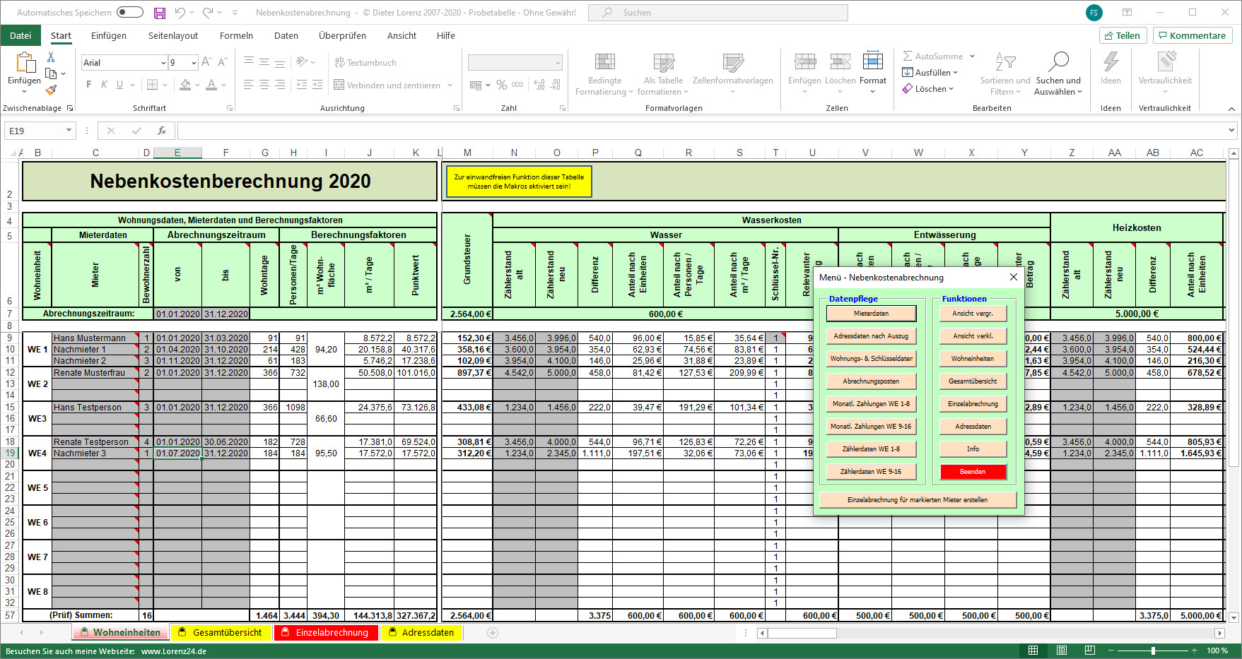 Nebenkostenabrechnung Muster Vorlage Fur Excel Download Chip 3