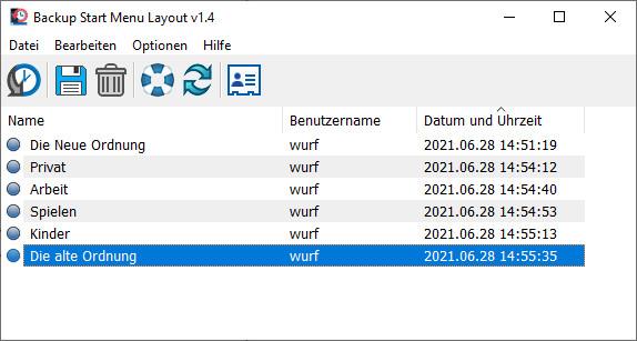 Screenshot 1 - Backup Start Menu Layout